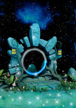 Fantasy magical portal with a beautiful sky behind full of stars. 3D Illustration. Imagens