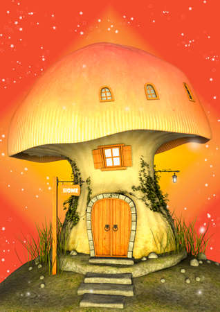 Colorful fairytale mushroom house full of stars on the sky behind. 3D Illustration.