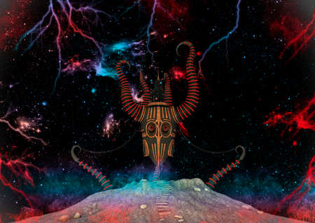 Fantasy scene of a demon mask on the outer space surround by stars, colors, and lightning bolts. 3D Illustration. Imagens