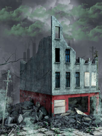 Destroyed building with factories behind and green toxic smoke. 3D Illustration. Imagens