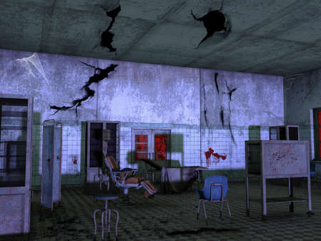 Abandoned hospital room with rusty medical furniture and blood on the walls. 3D Illustration.