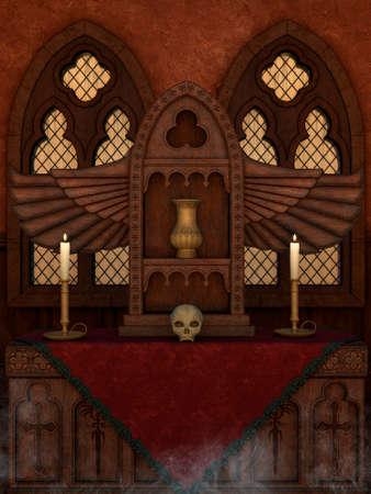 A dark magical altar with candles, a skull, and a metal jar. Foto de archivo