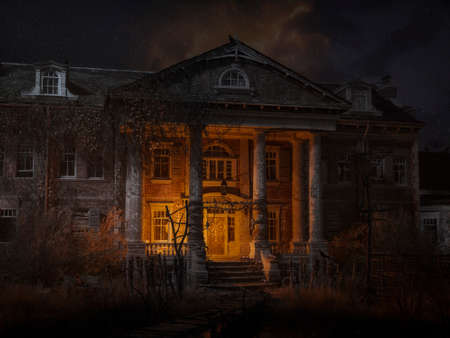 An abandoned haunted house at night, with crowns, skulls, bones, and magical symbols. 3D Illustration. Stock Photo