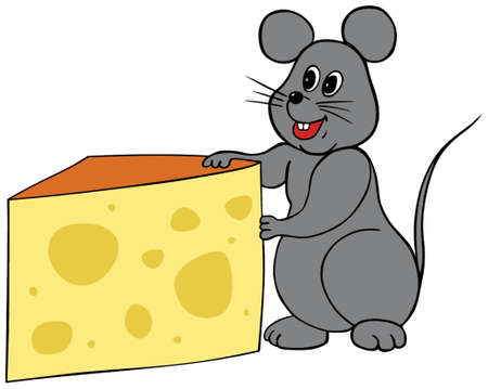 Happy mouse holding a wedge of cheese