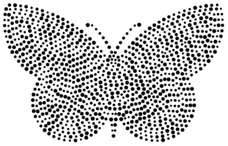 black dots: Butterfly shape drawn with many black dots