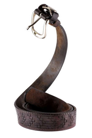 Old leather belt standing like a snake Stock Photo