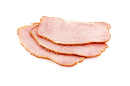 Three slices of ham over white background Stock Photo