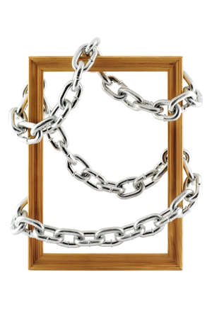 Chain wound around a wooden frame