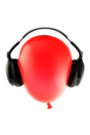 Red balloon with headphones 스톡 사진