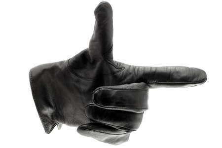 leather glove: Black leather glove pointing right
