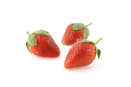Three strawberries over white background Stock Photo - 732808