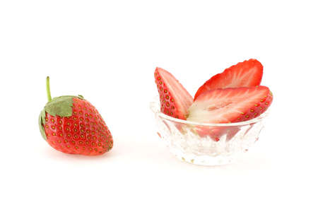 Strawberries over white background photo