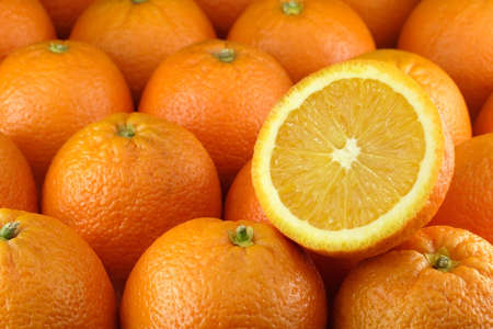 Close up of many oranges Stock Photo