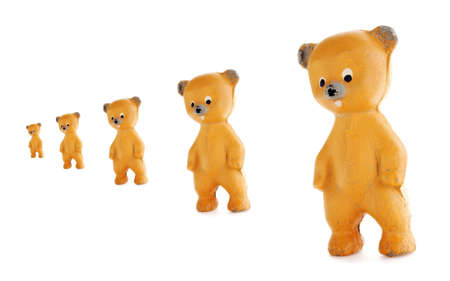 Old rubber bears standing in line photo