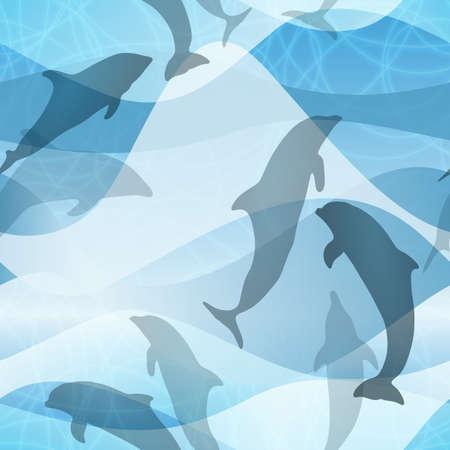 Seamless Dolphin Pattern Illustration