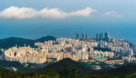 Building in Busan from sky View. Stock Photo