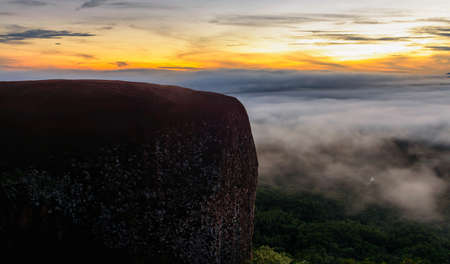 generic location: Morning sunrise and foggy of Tree rock whale mountain in Bungkan,Thailan