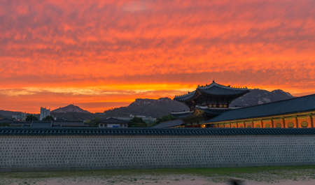 Sunset over the Gyeongbokgung palace in Seoul,korea