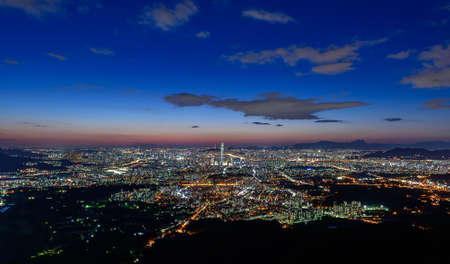 Korea,Seoul city skyline at night Stock Photo