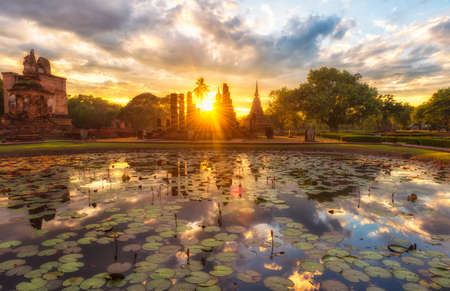 The sun set of Sukhothai historical park Thailand