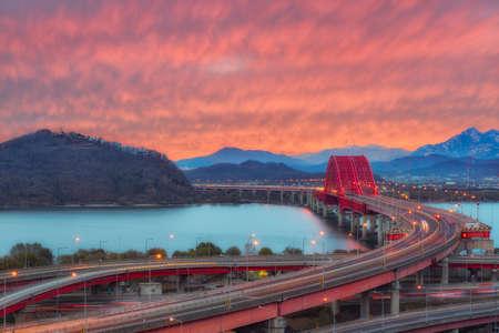 The sun set of Banghwa bridge at seoul,Korea
