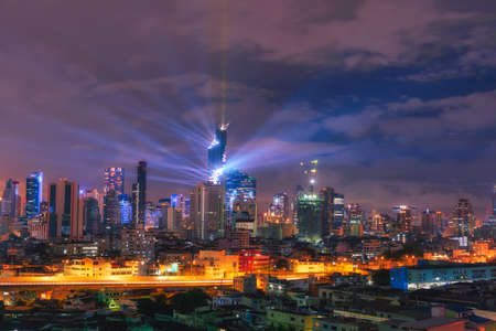 duration: The best view Commercial building in Bangkok city at night.ThaiLand Stock Photo