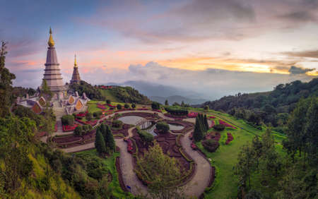 phon: Panorama-Landscape of two pagodas Noppamethanedol & Noppapol Phumsiri at Doi-intranon in Chiang Mai,Thailand Stock Photo