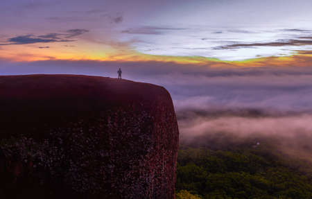 moutains: Morning sunrise and foggy of Tree rock whale mountain in Bungkan,Thailan