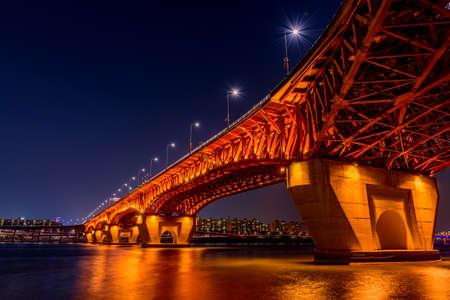 Seongsu bridge at nigth in seoul,korea Editorial