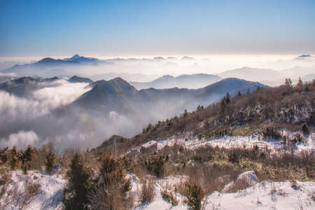 Deogyusan mountains and fog in winter,South Korea