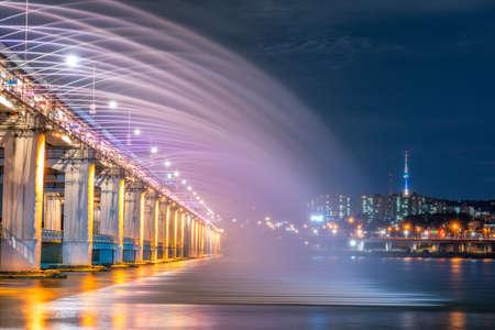 Rainbow fountain show at Banpo Bridge in Seoul, South Korea