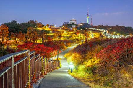 Namsan Park  Autumn at night in Seoul,South Korea. Stock Photo