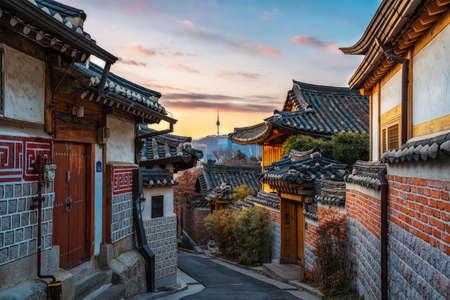 Bukchon Hanok Village of seoul city in  Korea.