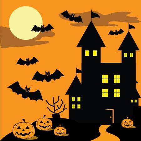 pumpkin border: autumn ghost season Illustration