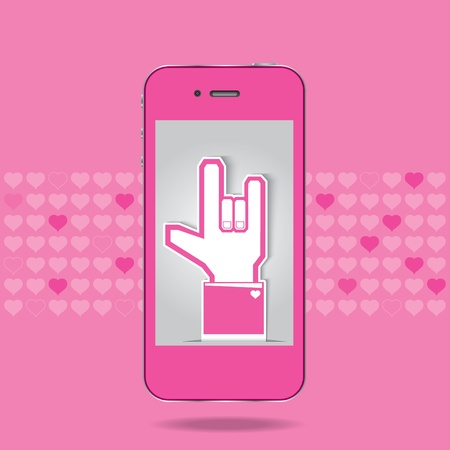 Background in love on mobile Vector