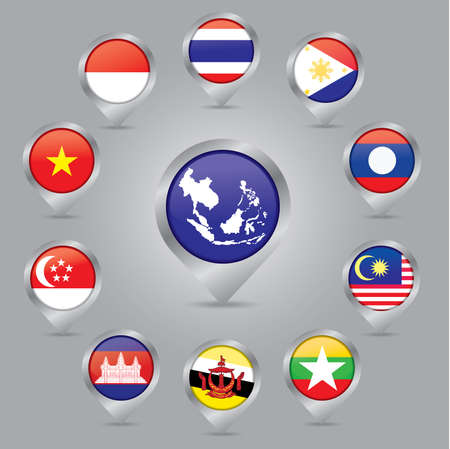 Check-in flag ASEAN Economic Community: AEC 2015, isolated