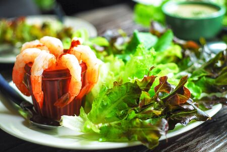 Caesar Salad with shrimp Stock Photo