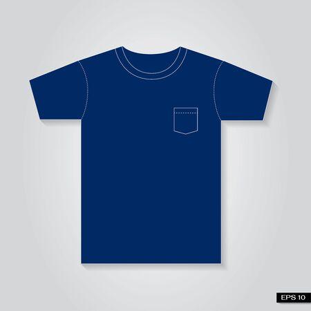 T shirt Vintage pocket blue tone