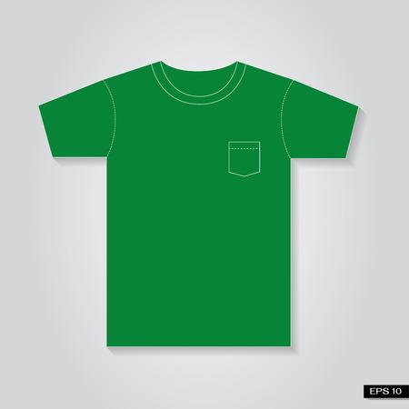 T shirt Vintage pocket green tone Illustration