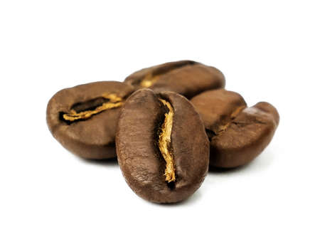 Coffee beans isolated close up macro