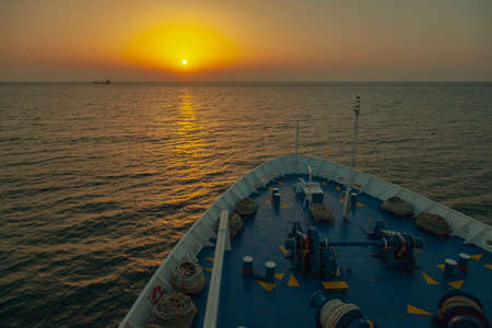 Sunset in the Mediterranean sea. Cruise ship deck view