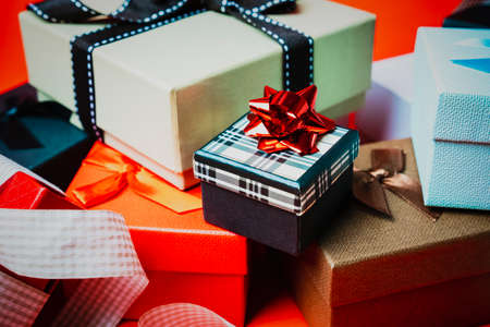 Set of gift boxes of different sizes and colors