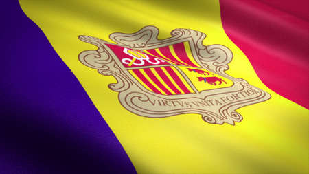 Flag of Andorra. Realistic waving flag with highly detailed fabric texture Standard-Bild