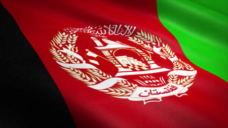 Flag of Afghanistan. Realistic waving flag 3D render illustration with highly detailed fabric texture