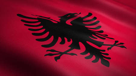 Flag of Albania. Realistic waving flag 3D render illustration with highly detailed fabric texture