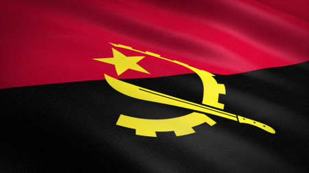 Flag of Angola. Realistic waving flag 3D render illustration with highly detailed fabric texture