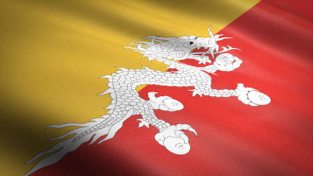 Flag of Bhutan. Realistic waving flag 3D render illustration with highly detailed fabric texture