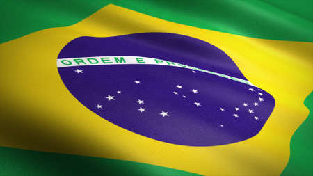 Flag of Brazil. Realistic waving flag 3D render illustration with highly detailed fabric texture Standard-Bild