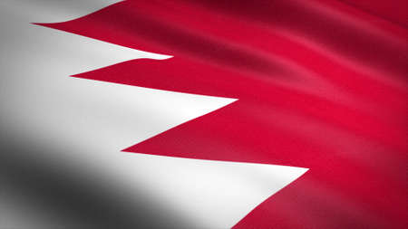 Flag of Bahrain. Realistic waving flag 3D render illustration with highly detailed fabric texture