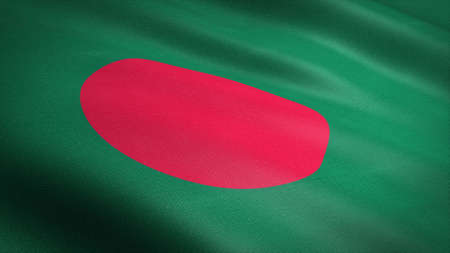 Flag of Bangladesh. Realistic waving flag 3D render illustration with highly detailed fabric texture
